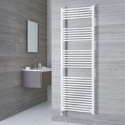 Milano Calder Electric - White Flat Heated Towel Rail - 1800mm x 600mm
