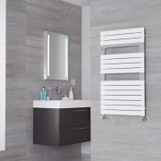 Lazzarini Way Torino - Mineral White Designer Heated Towel Rail - 952mm x 550mm