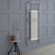 Milano Trent - Chrome and White Traditional Heated Towel Rail - 1365mm x 575mm