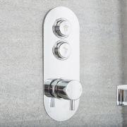 Milano Orta - Modern 2 Outlet Round Push Button Shower Valve - Chrome