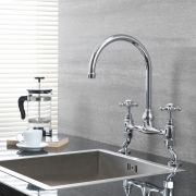 Milano Elizabeth - Traditional Deck Mounted Bridge Kitchen Sink Mixer Tap - Chrome