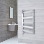 Kudox Ladder Electric - Chrome Flat Standard Heated Towel Rail - 1200mm x 600mm