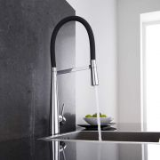 Milano - Modern Deck Mounted Monobloc Kitchen Mixer Tap with Flexi Spray - Black and Chrome
