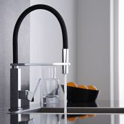 Milano Arvo - Modern Deck Mounted Monobloc Kitchen Mixer Tap with Pull Out Spout - Black and Chrome