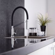 Milano - Modern Deck Mounted Monobloc Kitchen Mixer Tap - Black and Chrome