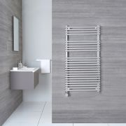 Kudox Harrogate Electric - Chrome Flat Bar on Bar Heated Towel Rail - 1150mm x 450mm