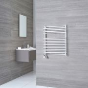 Kudox Harrogate Electric - Chrome Flat Bar on Bar Heated Towel Rail - 750mm x 600mm