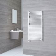 Kudox Harrogate Electric - White Flat Bar on Bar Heated Towel Rail - 1150mm x 600mm