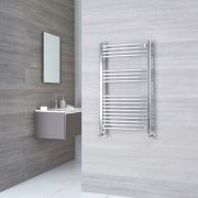 Kudox Ladder - Premium Chrome Curved Heated Towel Rail - 1000mm x 600mm