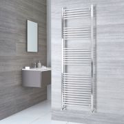 Kudox Ladder - Premium Chrome Curved Heated Towel Rail - 1800mm x 600mm