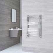 Kudox Ladder - Premium Chrome Flat Heated Towel Rail - 800mm x 500mm