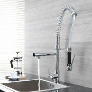 Milano Mirage - Modern Deck Mounted Professional Kitchen Mixer Tap - Chrome