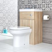 Milano Lurus - Oak Modern Ballam Toilet and Basin Combination Unit - 500mm x 890mm