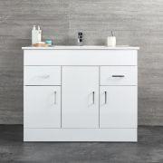 Milano Ren - White 1000mm Minimalist Floor Standing Vanity Unit with Basin