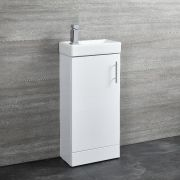 Milano Lurus - White 400mm Minimalist Compact Floor Standing Cloakroom Vanity Unit with Basin