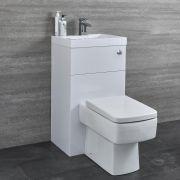 Milano Lurus - White Modern Square Toilet and Basin Unit Combination - 500mm x 890mm