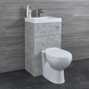 Milano Lurus - Concrete Grey Modern Select Toilet and Basin Unit Combination - 500mm x 890mm