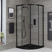 Milano Nero - Black 900mm Quadrant Shower Enclosure with Slate Tray - Choice of Tray Finish