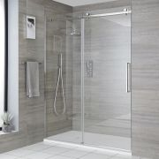Milano Portland - Recessed Frameless Sliding Shower Door with Slate Tray - Choice of Sizes