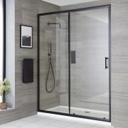 Milano Nero - Recessed Black Sliding Shower Door with Tray - Choice of Sizes