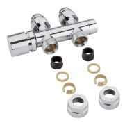 "Milano - Chrome 3/4"" Male Thread H-Block Straight Valve Chrome Handwheel - 15mm Copper Adapters"