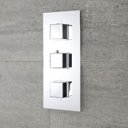 Milano Arvo - Modern 2 Outlet Square Triple Diverter Thermostatic Shower Valve - Chrome
