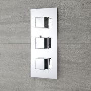 Milano Arvo - Modern 3 Outlet Square Triple Diverter Thermostatic Shower Valve - Chrome