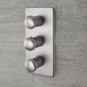 Milano Ashurst - Modern 3 Outlet Triple Diverter Thermostatic Shower Valve - Brushed Nickel