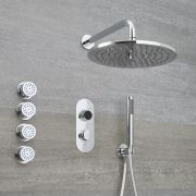 Milano Vis - Chrome Thermostatic Digital Shower with Wall Mounted Round Shower Head, Hand Shower and Body Jets (3 Outlet)