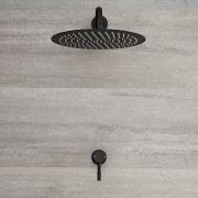 Milano Nero - Modern Manual Shower Valve with 300mm Round Head and Arm - Black