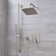 Milano Hunston - Modern Manual Diverter Shower Valve, 200mm Square Head and Slide Rail Kit - Brushed Nickel