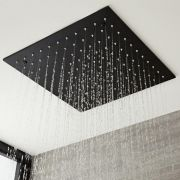 Milano Nero - Modern 400mm Square Ceiling Mounted Recessed Shower Head - Black