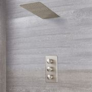 Milano Ashurst - Brushed Nickel Thermostatic Shower with Waterblade Shower Head (2 Outlet)
