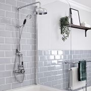 Milano Elizabeth - Chrome and Black Traditional Twin Exposed Thermostatic Shower with Grand Rigid Riser Rail (2 Outlet)