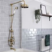 Milano Elizabeth - Brushed Gold Traditional Triple Exposed Thermostatic Shower with Grand Rigid Riser Rail and Wall Spout (3 Outlet)