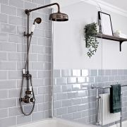 Milano Elizabeth - Oil Rubbed Bronze Traditional Twin Exposed Thermostatic Shower with Grand Rigid Riser Rail (2 Outlet)