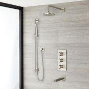 Milano Ashurst - Triple Diverter Thermostatic Shower Valve, 200mm Round Head, Slide Rail Kit and Spout - Brushed Nickel