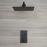 Milano Nero - Modern Twin Thermostatic Shower Valve with 300 x 300mm Square Head and Arm - Black