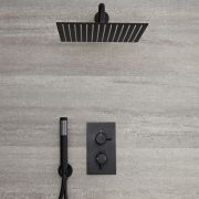 Milano Nero - Modern Twin Thermostatic Diverter Shower Valve with 300 x 300mm Square Head and Hand Shower - Black