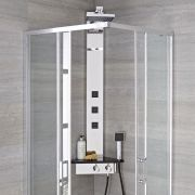 Milano Astley - Modern Corner Thermostatic Shower Tower Panel with Large Shower Head, Hand Shower, Body Jets and Shelf - Chrome and Black
