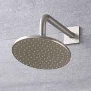 Milano Ashurst - 200mm Round Shower Head and Wall Arm - Brushed Nickel