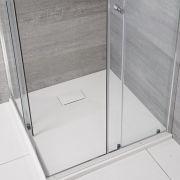 Milano Rasa - Matt White Slate Effect Square Shower Tray - 800mm