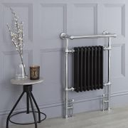 Milano Trent - Black Traditional Heated Towel Rail - 930mm x 620mm (With Overhanging Rail)