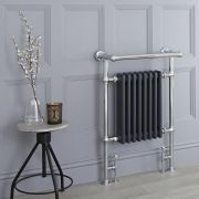 Milano Trent - Anthracite Traditional Heated Towel Rail - 930mm x 620mm (Flat Top Rail)
