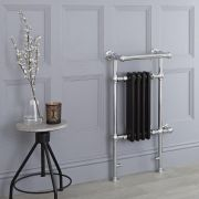 Milano Trent - Black Traditional Electric Heated Towel Rail - 930mm x 450mm (With Overhanging Rail)