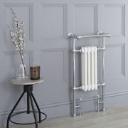 Milano Trent - White Traditional Heated Towel Rail - 930mm x 452mm (With Overhanging Rail)