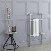 Milano Elizabeth - White Traditional Electric Heated Towel Rail - 930mm x 450mm (Flat Top Rail)