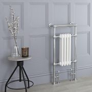 Milano Trent - White Traditional Heated Towel Rail - 930mm x 450mm (Flat Top Rail)