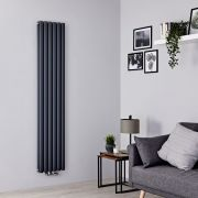 Milano Aruba Flow - Anthracite Vertical Middle Connection Designer Radiator - 1780mm x 354mm (Double Panel)