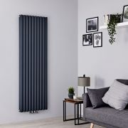 Milano Aruba Flow - Anthracite Vertical Middle Connection Designer Radiator - 1780mm x 590mm (Double Panel)